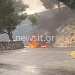 Φωτιά σε όχημα της Πολεμικής Αεροπορίας στην Πάρνηθα – ΒΙΝΤΕΟ